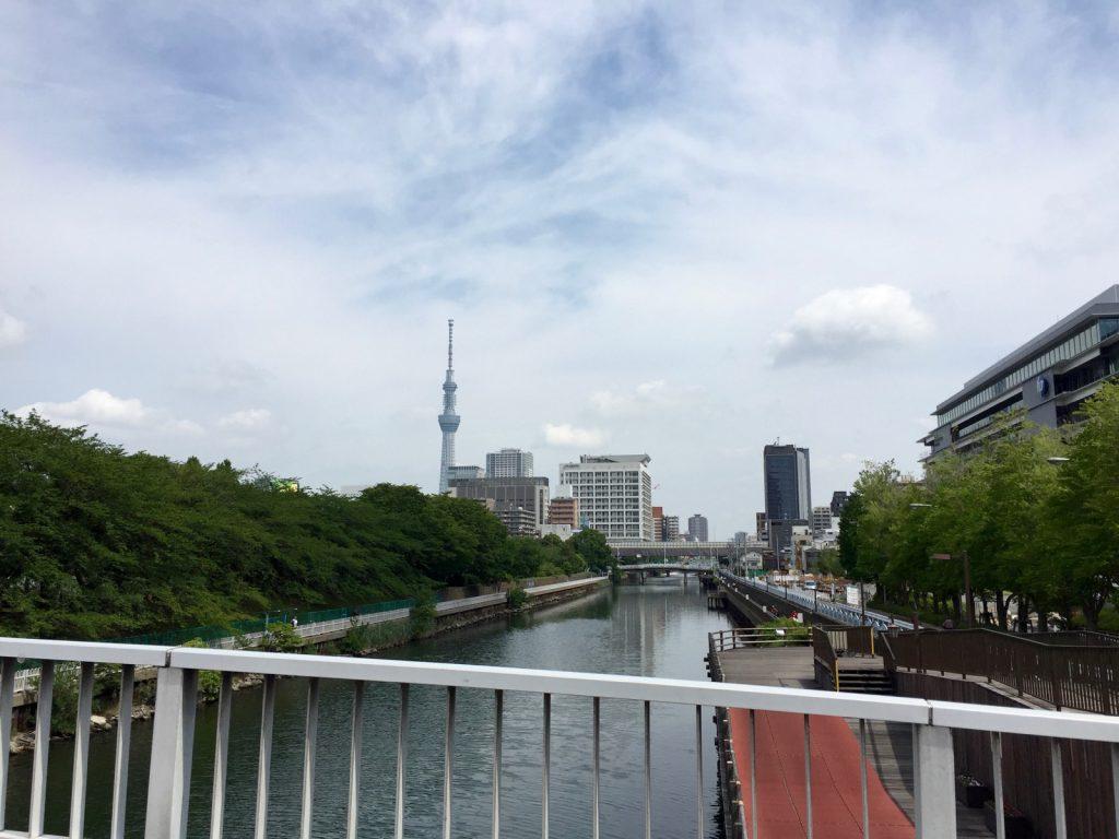 横十間川から東京スカイツリーを望む